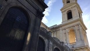 Overlooked by tourists, the Saint-Sulpice church is getting a complete makeover. Here the restored front tower and the unrestored rear-end of the church