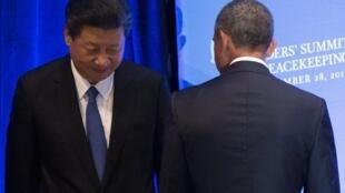 Chủ tịch Tập Cận Bình và tổng thống Barack Obama tại một diễn đàn Liên Hiệp Quốc ngày 28/09/2015.
