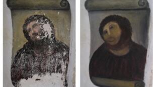 A restauração (dir.) realizada pela artista amadora Cecilia Gimenez não tem traços em comum com a pintura original (esq.).