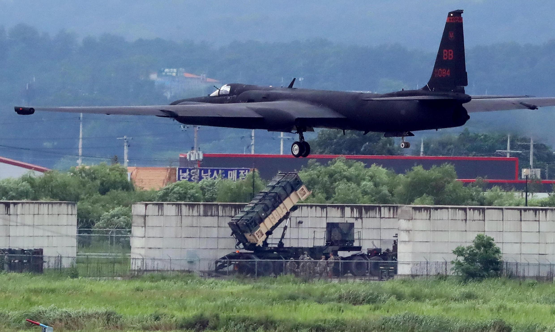 Một trinh sát cơ U-2 của Mỹ tại một sân bay Hàn Quốc. Ảnh công bố tháng 12/2017.