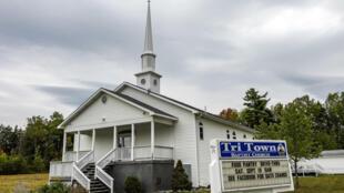 La iglesia baptista de Tri-Town, en East Millinocket, Maine, donde se celebró un casamiento en agosto que terminó con al menos 177 infectados y siete muertos