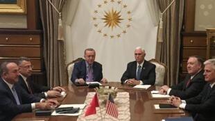رئیس جمهوری ترکیه در ملاقات با معاون رئیس جمهوری آمریکا.
