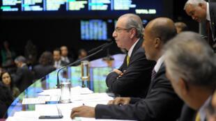 O presidente da Câmara, Eduardo Cunha, durante sessão no plenário.