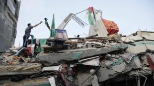 A Gaza, la demeure du leader du Hamas et ancien Premier ministre Ismail Haniyeh a totalement été détruite après un bombardement, dans la nuit du 29 juillet 2014.