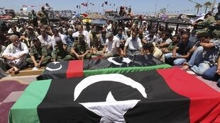The funeral of Abdel Fatah Younes's in Benghazi on Friday