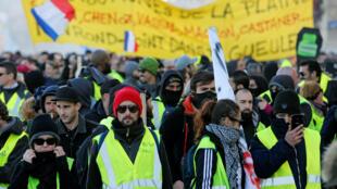 """""""Áo Vàng"""" biểu tình ở Marseille, Pháp, ngày 12/01/2019"""