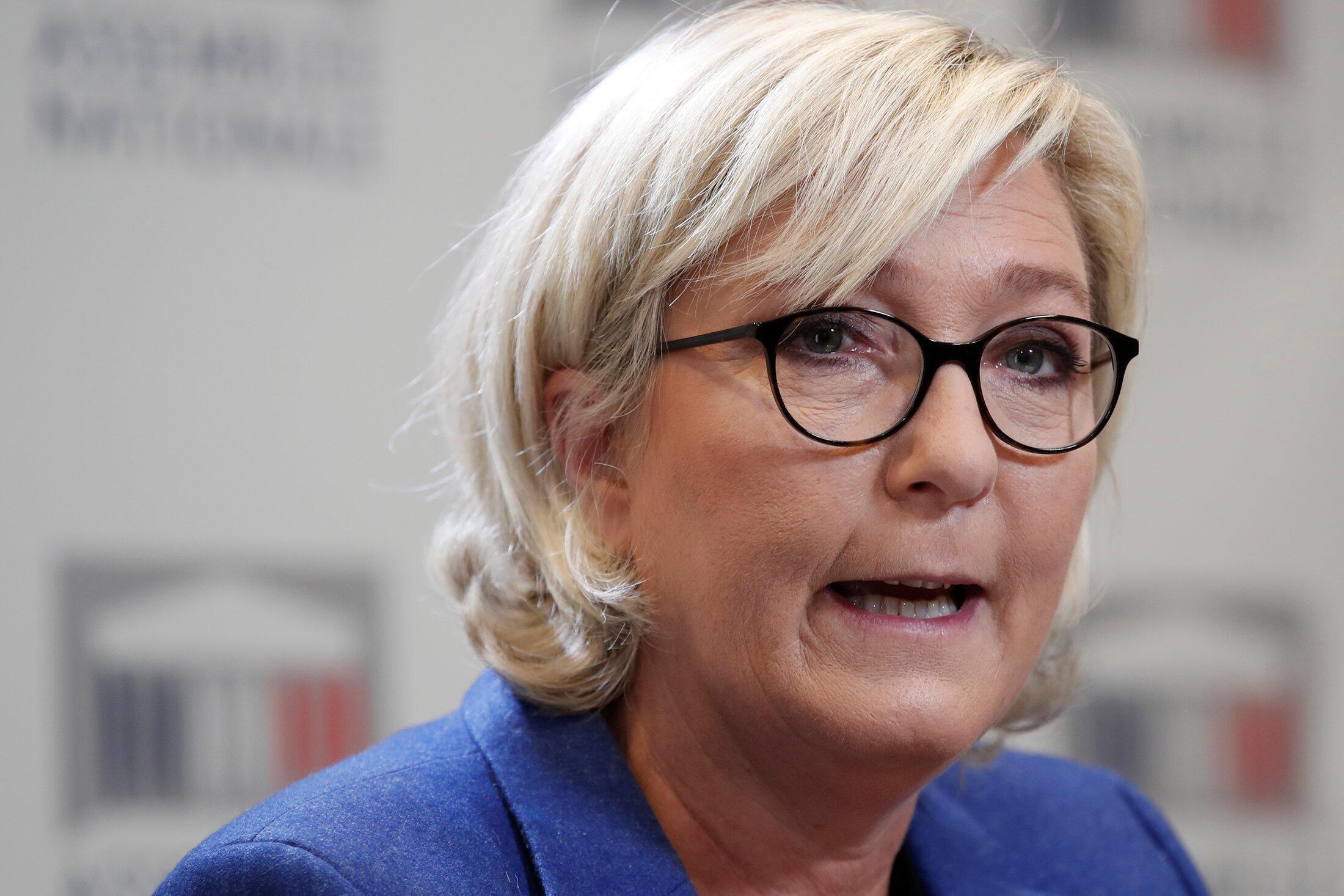 Marine le Pen, líder da Frente Nacional, na extrema-direita.