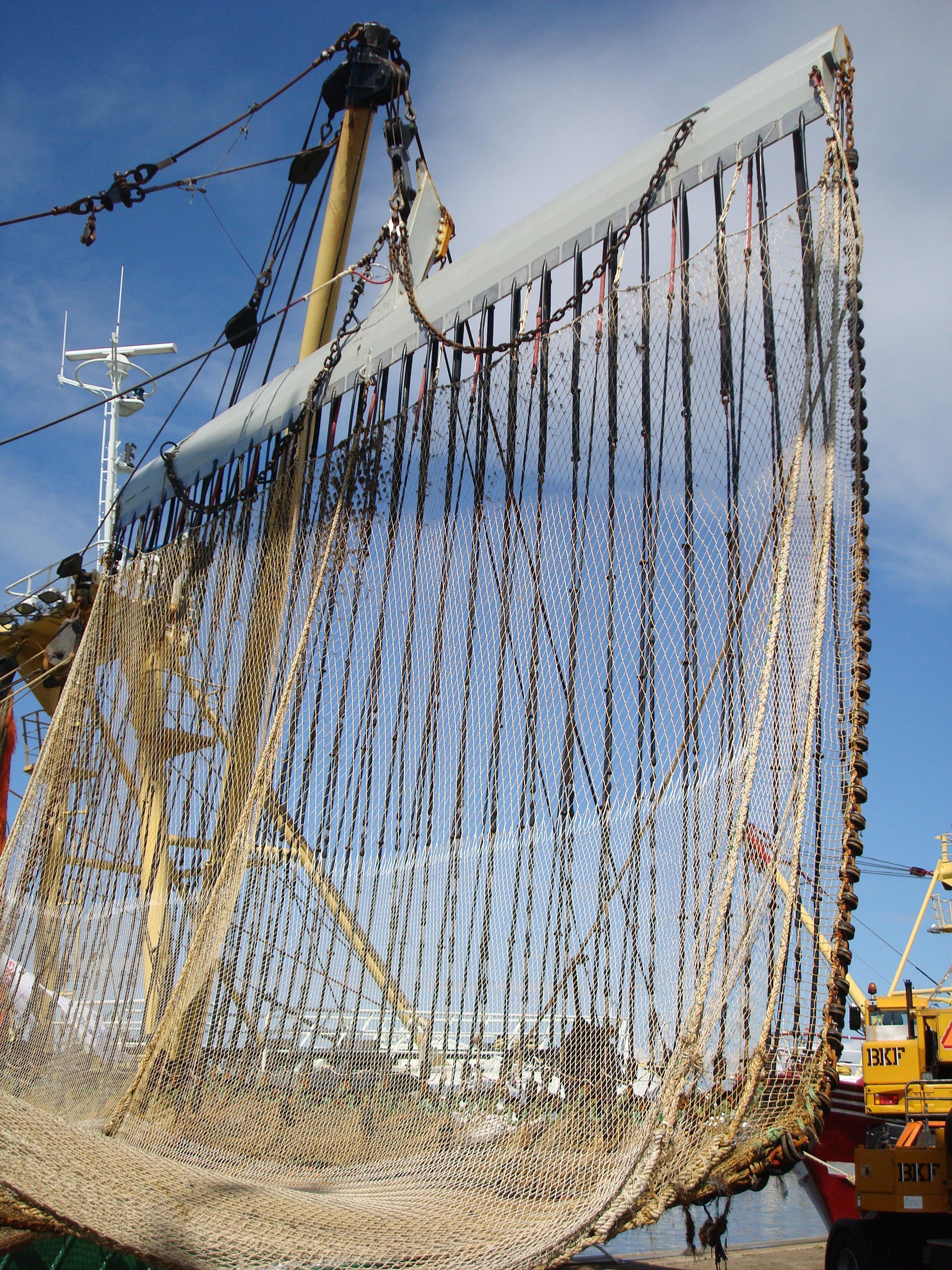 Exemplo de rede equipada para a pesca elétrica.