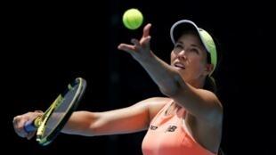 L'Américaine Danielle Collins a battu sa compatriote Amanda Anisimova 4-1, 4-2 lors d'un mini-tournoi de tennis le 22 mai 2020 à West Palm Beach en Floride.