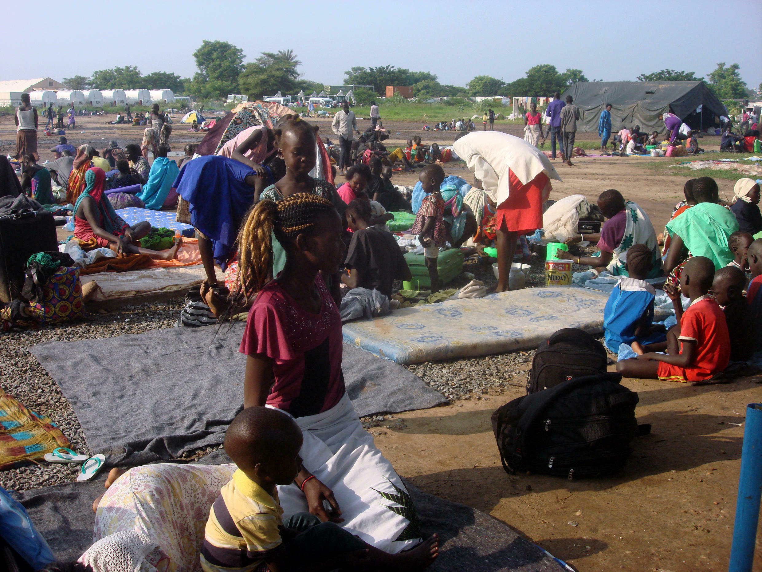 Displaced South Sudanese families are seen in a camp for internally displaced people in the United Nations Mission in South Sudan (UNMISS) compound in Tomping, Juba, South Sudan, July 11, 2016