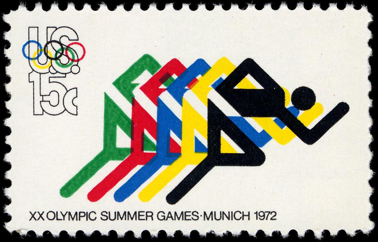Tem do bưu điện Mỹ phát hành nhân kỳ Olympic Munich 1972.