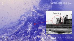 L'épave du sous-marin Ariane a été découvert par l'équipe de plongée du club Ras Adar, à El Haouaria dans le nord-est du cap Bon en Tunisie.