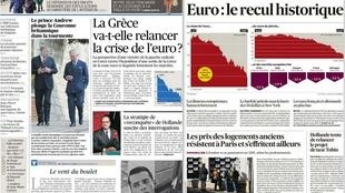 Capa dos jornais franceses Le Figaro e Les Echos desta terça-feira, 6 de janeiro de 2015.