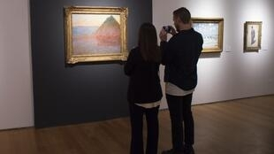 Monet's Meule (Haystack) at a press preview at Christie's