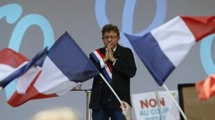 Jean-Luc Mélenchon speaks at Saturday's demonstration