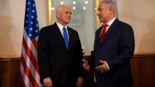 Makamu wa Rais wa Marekani Mike Pence akikutana kwa mazungumzo na Waziri Mkuu wa Israel Benjamin Netanyahu, Jumatatu Januari 22, 2018.