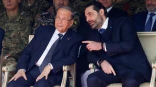 Le Premier ministre démissionnaire Saad Hariri aux côté du président du Liban Michel Aoun le 22 novembre 2019.