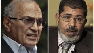 El candidato de los Hermanos  Musulmanes, Mohamed Morsi (izq.), se enfrentará en la segunda vuelta de la elección  presidencial egipcia al último primer ministro de Hosni Mubarak, Ahmad Shafiq, el 16 y 17 de junio.