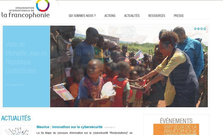 La secrétaire générale de l'OIF, Michaëlle Jean, à Bambari, en page d'accueil du site de l'Organisation internationale de la Francophonie, le 13 avril 2017.