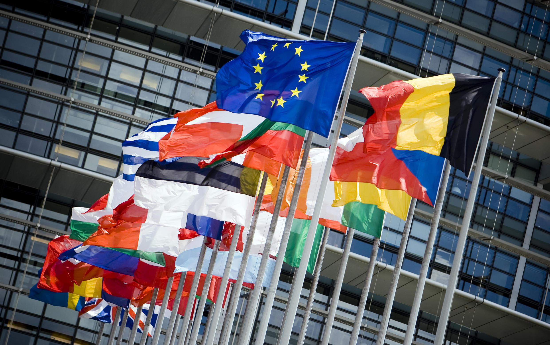 Флаги стран-членов Евросоюза. Брюссель
