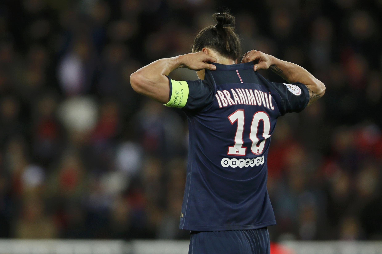 Zlatan Ibrahimovic na sua despedida do Parc des Princes, em Paris.