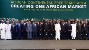 Viongozi wa bara Afrika wakiwa Kigali ncuini Rwanda kuhudhuria mkutano wa kutia saini mkataba wa kufanya biashara