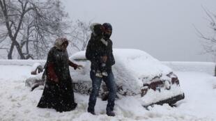 Comme une grande partie du pays, le village de Sawfar dans l'est du Liban est sous la neige.