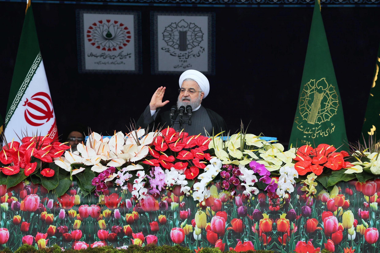 Hassan Rohani a tenu un discours, place Azadi, ce lundi 11 février 2019, pour l'anniversaire de la révolution iranienne.
