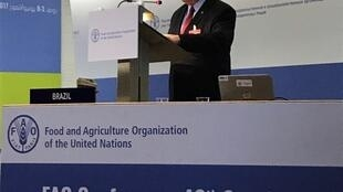 Blairo Maggi, ministro da Agricultura Pecuária e Abastecimento, em discurso na 40ª Conferência da FAO, nesta quarta-feira (5), em Roma.