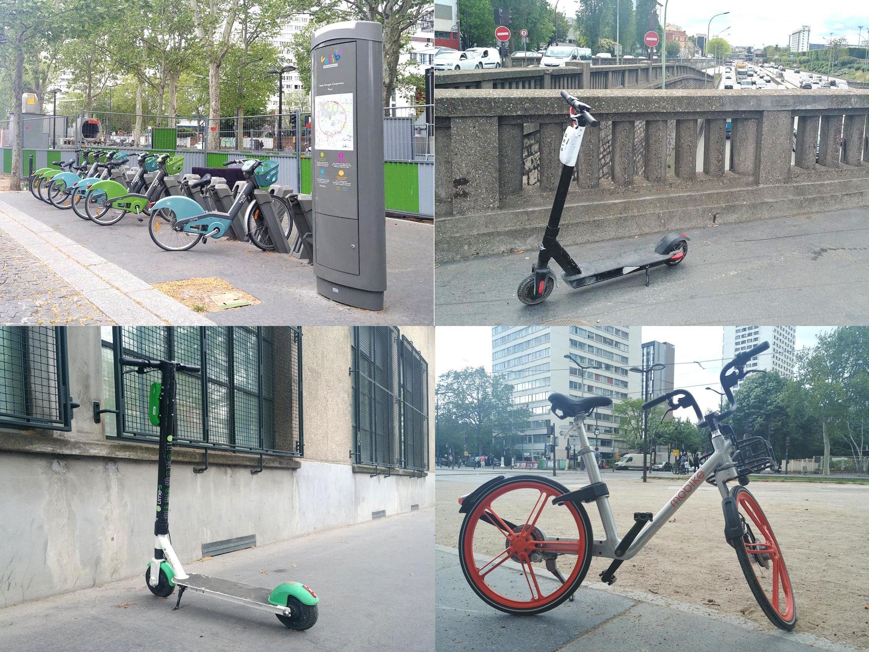 """Khác với xe đạp Velib có trạm đậu xe khắp thành phố, xe trượt theo mô hình """"free floating"""" không có chỗ trả xe hay đậu xe cố định"""