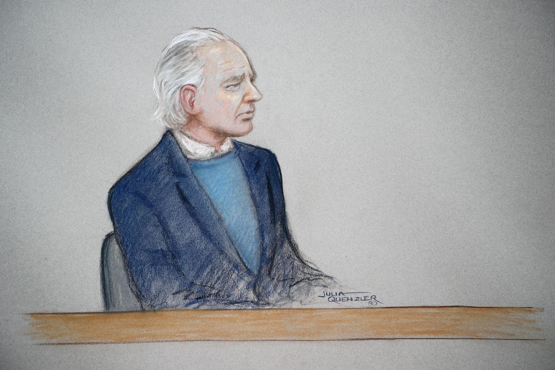 O fundador do WikiLeaks Julian Assange compareceu pela primeira vez ao tribunal de Westminster, em Londres, em 21 octobre 2019.