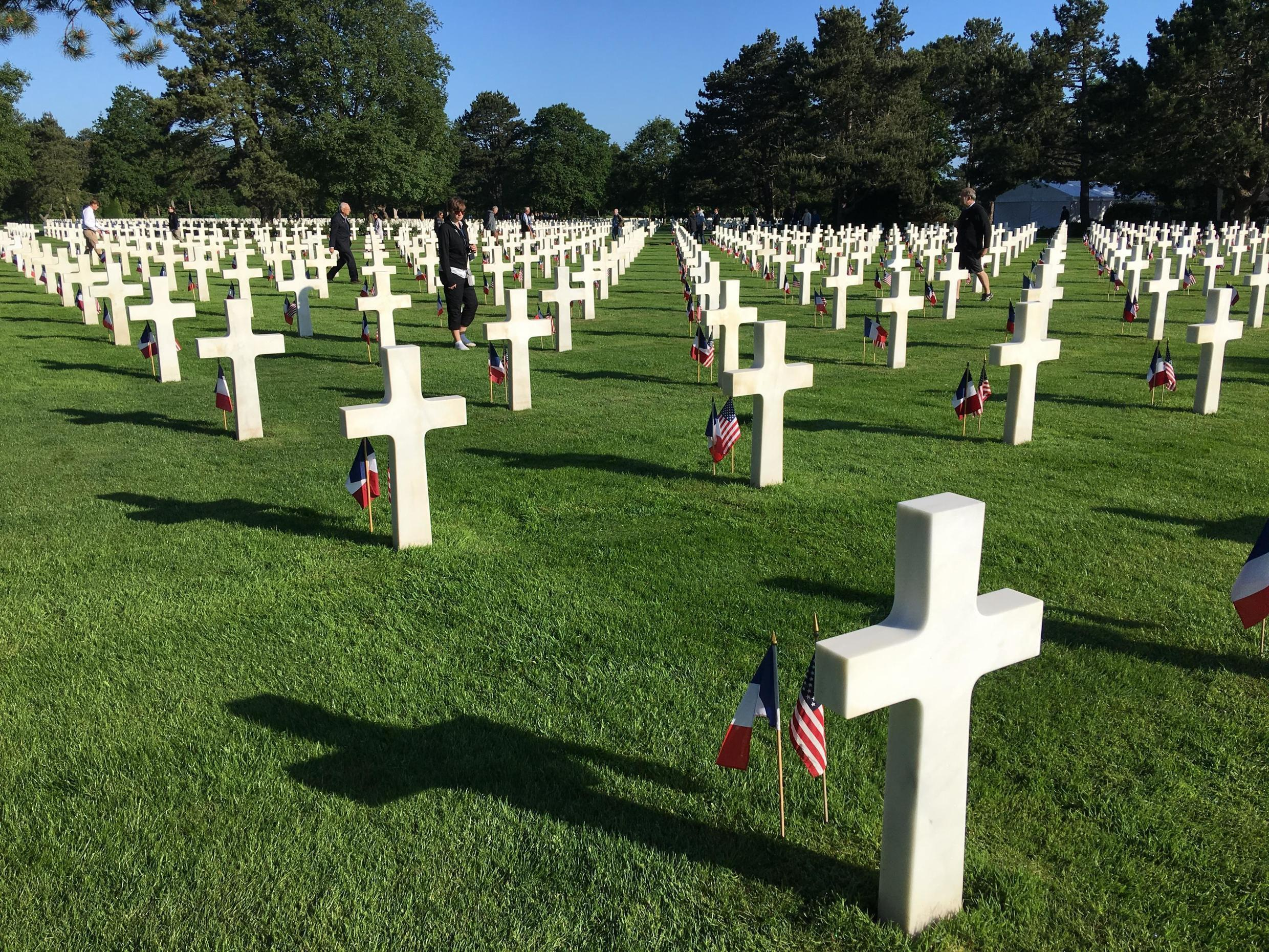 Colleville Cemetery contains the remains of 9,388 American military dead, most of whom were killed during the Battle of Normandy and ensuing military operations in World War II.