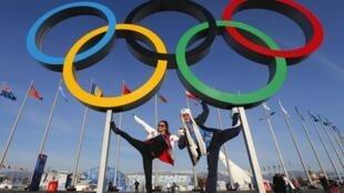 Les anneaux des Jeux Olympiques 2014 de Sotchi en Russie, ouverts le 07/02/2014.