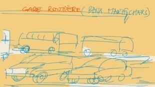Dessin réalisé dans le cadre de «Ecouter Dakar à la gare routière».