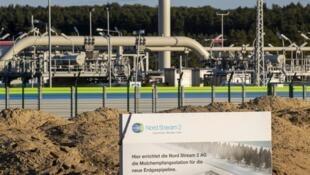 Des installations du gazoduc russe Nord Stream 2 à Lubmin, au nord-est de l'Allemagne, le 7 septembre 2020 (image d'illustration).