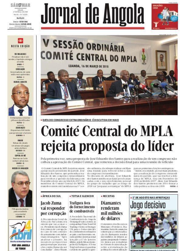 Le quotidien d'Etat annonce le rejet de la proposition de calendrier de José Eduardo dos Santos pour le congrès extraordinaire du MPLA, information démentie par le porte-parole du parti.