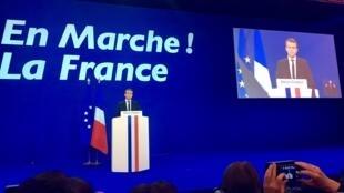 Discurso do candidato centrista Emmanuel Macron depois dos resultados do 1° turno da presidencial francesa.