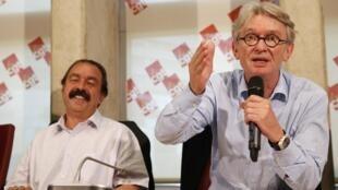 Conferencia de  prensa de Philippe Martinez (CGT) y de Jean-Claude Mailly (FO), el 22 de junio de 2016 en Montreuil.
