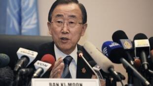 Le secrétaire des Nations unies Ban Ki-moon à Addis Abeba, le 28 janvier 2013.