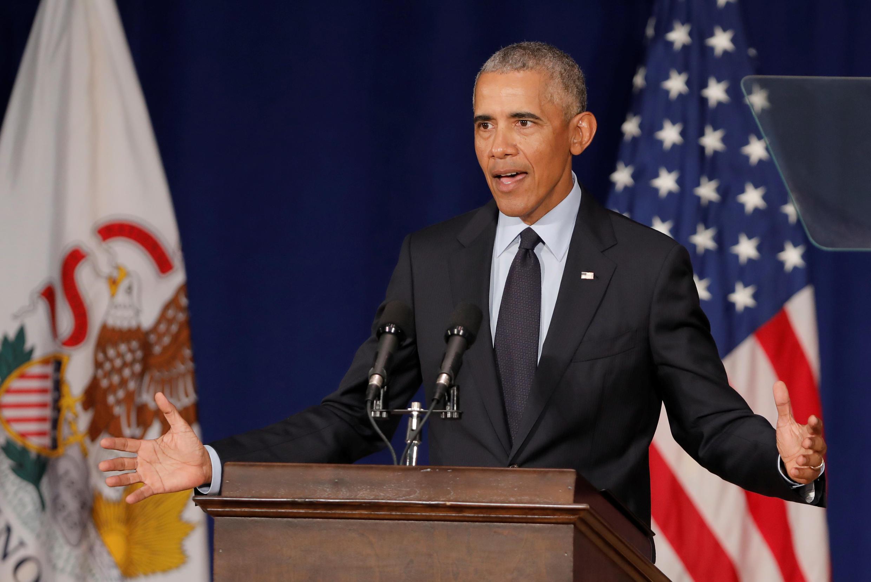 Cựu tổng thống Obama phát biểu tại Đại học Illinois Urbana-Champaign, bang Illinois, Hoa Kỳ, ngày 07/09/2018.