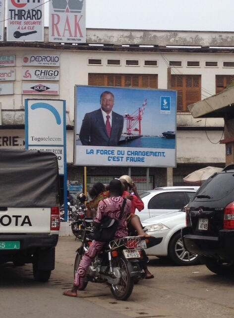 An incumbent President Faure Gnassingbé campaign billboard