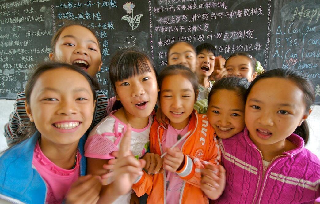 Estudiantes de escuela, en la provincia de Guangxi, en China.