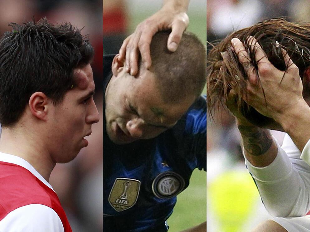 Sale week-end pour Nasri d'Arsenal (g.), Sneijder de l'Inter Milan (c.) et Sergio Ramos du Real Madrid (d.).