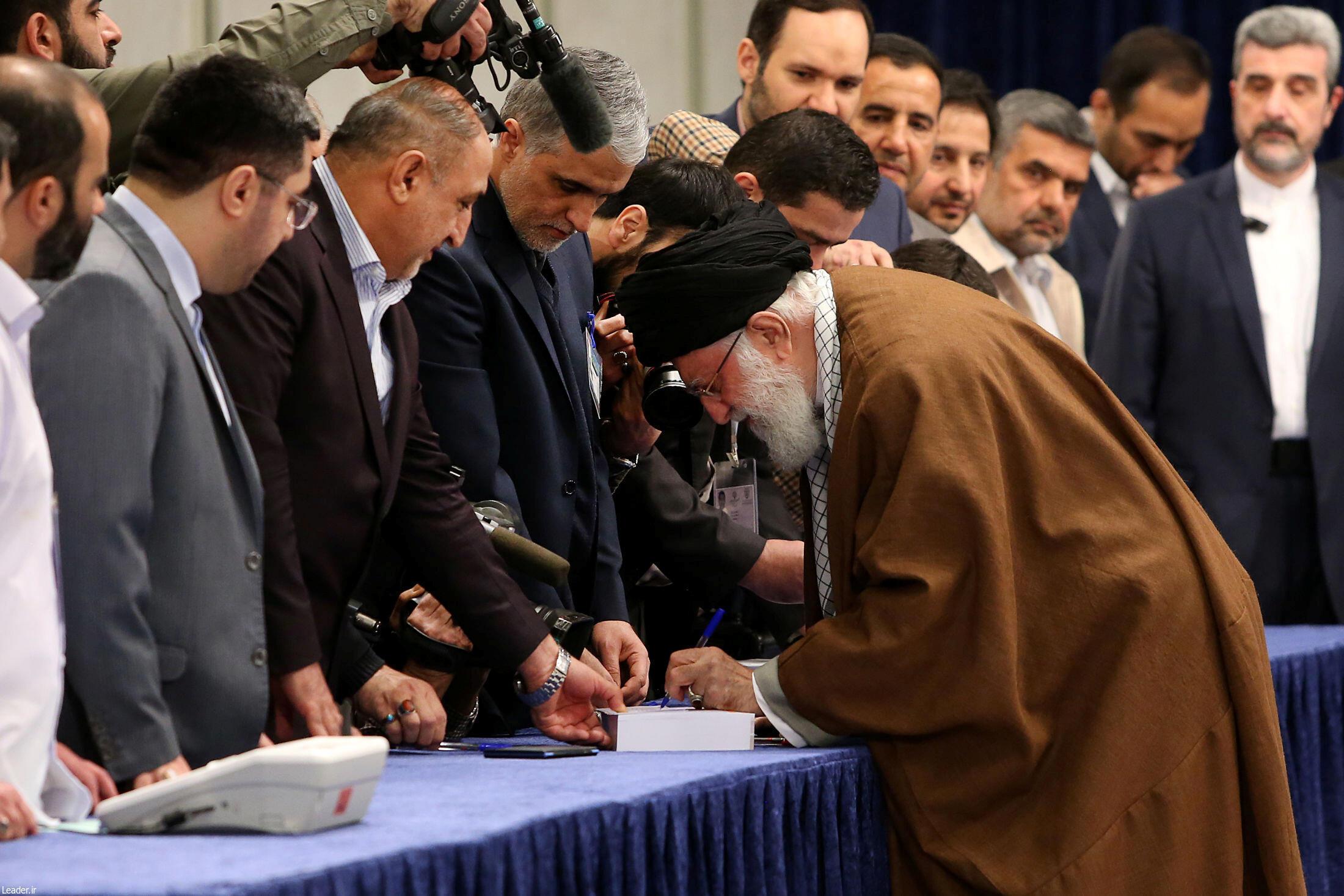 Ayatollah Ali Khamenei, Iran's Supreme Leader, cast his vote near his office in Tehran.
