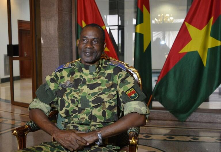 Diendere speaks at the presidential palace in Ouagadougou following the coup attempt, 17 September 2015.