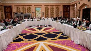 Les négociations de paix entre talibans et États-Unis, à Doha, au Qatar, le 26 février 2019 (image d'illustration).