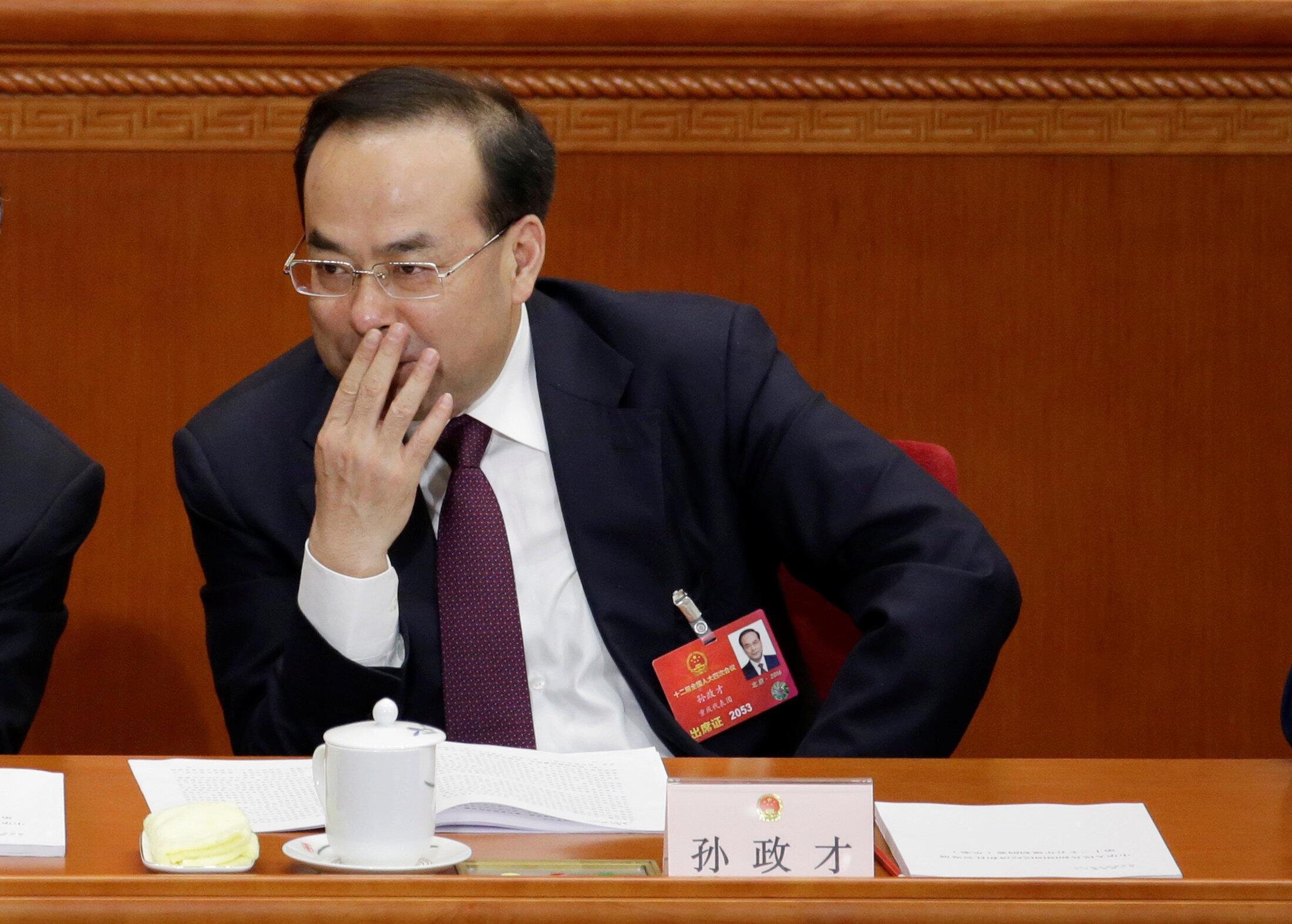Ông Tôn Chính Tài (Sun Zhengcai). Ảnh chụp tháng 3/2016, ở Quốc Hội Trung Quốc, Bắc Kinh.