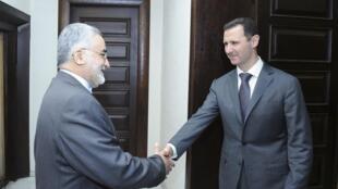 بشار اسد، رئیس جمهوری سوریه و علاالدین بروجردی، رئیس کمیسیون امور خارجی و امنیت ملی ایران