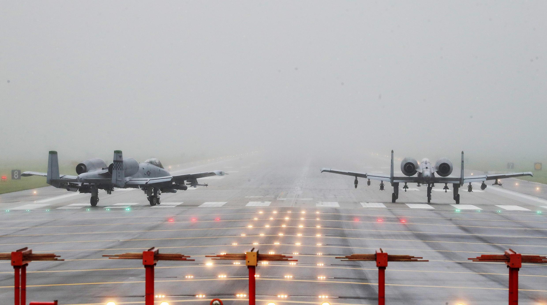 美軍部署在韓國基地的A-10雷電攻擊機
