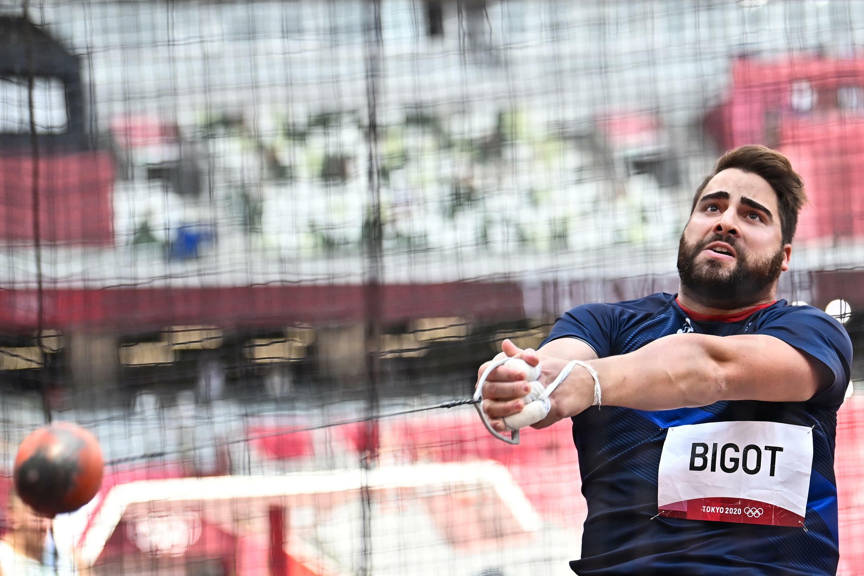 Quentin Bigot lors des qualifications de l'épreuve du marteau aux Jeux de Tokyo, le 2 août 2021